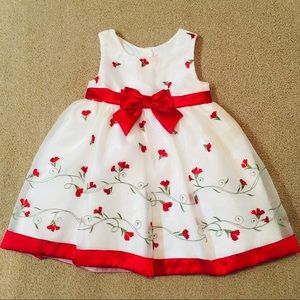 Red and White Floral Holiday/Christmas Girls Dress